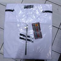 Baju koko putih dewasa putri azis model zip lengan panjang