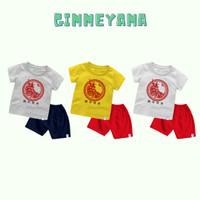 Baju Kaos Setelan Anak Laki laki Perempuan IMLEK Circlre RED OX GOLD - Kuning, Size 1