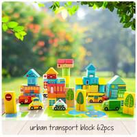 Edufuntoys-Urban Transport Block 62Pcs-Wooden Balok Susun Transportasi