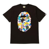 Bape Multi Camo Big Ape Head Tee Black 100% Authentic - M
