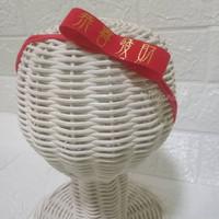 Headband Velvet Imlek/Bandana bayi Merah
