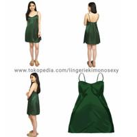 Fashion wanita dewasa tanktop dress baju rumah satin hijau daster sexy