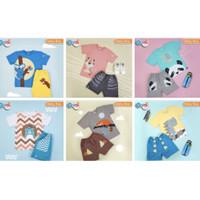 GOMI Happy Kids Set-Setelan Kaos Celana Anak Laki Motif Binatang - L (5Y), Blue Koala
