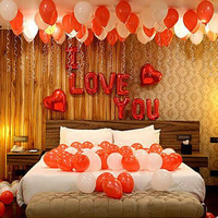 Balon Huruf I Love You Set Balon Latex Merah Putih Balon Foil Love
