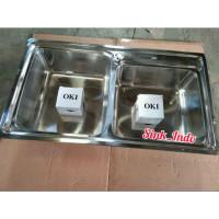 OKI Bak Cuci piring stainless westafel kitchen sink 2 lubang tempat