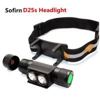 Sofirn D25S Lampu Depan 18650 SST40 LED, Senter Isi Ulang Daya USB