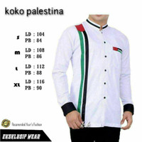 baju koko pria lengan panjang terbaru motif selendang palestina