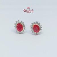 Anting Berlian Batu Ruby KER600965 - Kimberly Jewellery