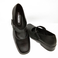 sepatu paskibra kulit asli sepatu pantofel wanita sepatu sekolah - Hitam, 36