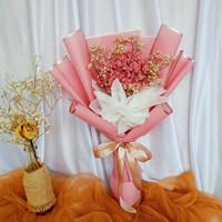 Buket Bunga Edelweis Baby Breath Bicolor Large / Birthday / Wisuda