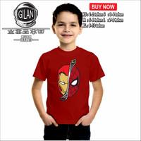 Kaos Baju Anak IRON MAN SPIDERMAN Kaos Anak Marvel - Gilan - XS