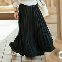 Rok plisket panjang jumbo /Rok rempel ok Kerja muslim wanita/Rok murah - Hitam