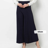 Celana Kulot Plisket Panjang Murah/Kulot Kerja / Celana Rempel Panjang - Hitam