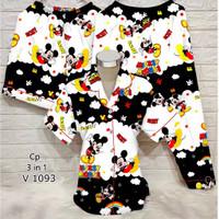 LAZA Piyama 3in1 Wanita Dewasa Motif Micky Mouse - Aloha Stitch