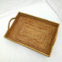 Nampan Saji Kotak - Handmade Rattan Tray - Baki Anyaman Rotan Ate