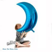Balon Foil Bulan Sabit biru / Balon Bulan / Balon Dekorasi moon jumbo