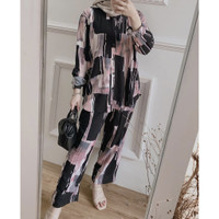 Piyama Set Wanita Katun Rayon Premium Baju Tidur Lengan Panjang Jumbo