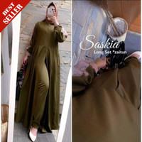 Baju Setelan Muslim Terlaris | Stelan Gamis + Celana | Saskia Long Set