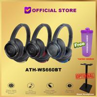 Audio-Technica ATH-WS660BT Bluetooth Headset WS660 BT WS 660 BT - Black Blue