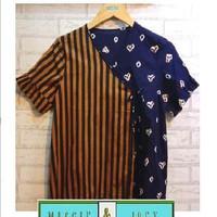 Andina short sleeved kimono blouse in Batik Jumputan Solo (L) - Lurik Jumputan
