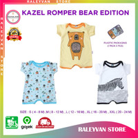 Kazel Romper Baju Kodok Segi Empat Bayi Laki Laki dan Perempuan Isi 3