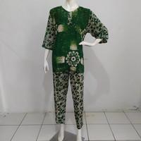 setelan celana panjang wanita batik baju tidur celana batik wanita - Hijau