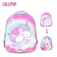 Tas ransel anak perempuan sekolah SD usap manik gambar unicorn frozen