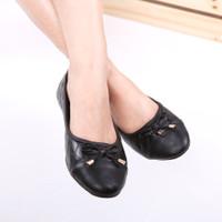 Pluvia - ANNE Sepatu Flat Shoes Wanita Quilted - Hitam, 37