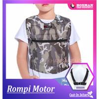 Rompi Motor Anak Anti Angin Motif Loreng/Army Pelindung Dada Junior