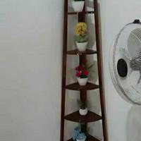 Rak bunga sudut 5 susun 120cm bahan kayu jati