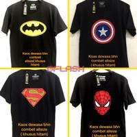 Kaos Distro Superhero Hitam Baju Pria Dewasa Batman Superman Spiderman
