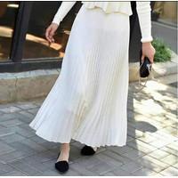 Rok plisket panjang jumbo /Rok Rempel Kerja muslim wanita/Rok murah - PUTIH TULANG