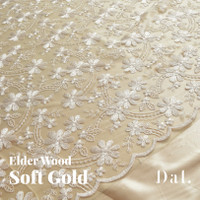 1/2 METER kain Brokat tile prancis/ Brukat kebaya Premium motif POPPY - Soft Gold
