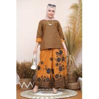 Setelan batik wanita celana kulot katun motif bunga lurik