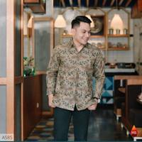baju kemeja batik pria lengan panjang pendek modern pesta kantoran g43 - S