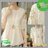 atasan blouse wanita brukat top bronita warna putih
