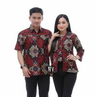 Baju Batik Couple Pria Wanita Batik Seragam Atasan batik Kantor M L XL - Atasan Pria, M