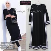 Baju tunik panjang wanita hijabers bahan kaos size XXL - Yoona