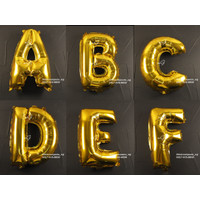 Dekorasi Pesta - Balon Foil Gambar Huruf uk. 40cm - Gold Huruf A-L