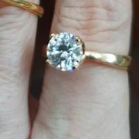 cincin diamond berlian look mata satu putih solitaire emas asli 375 15