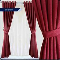 Gorden pintu gorden jendela gordyn minimalis bahan tebal polos - Cream, T150