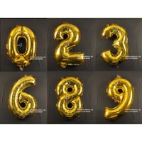 Dekorasi Pesta - Balon Foil Gambar Angka uk. 40cm - Gold