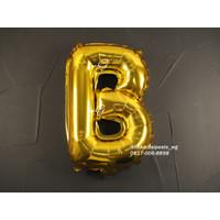 Dekorasi Pesta - Balon Foil Gambar Huruf uk. 40cm - Gold Huruf A-L - B