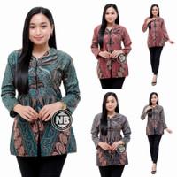 Blouse Batik Wanita Atasan Kemeja Kerja Size Jumbo K006