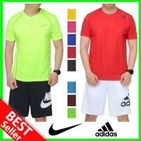 ADIDAS NIKE Kaos Olahraga Pria Baju Senam Gym Fitness Bola Futsal Lari - Merah, NIKE Size M