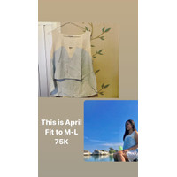 Preloved Atasan Wanita Putih Biru Muda Size M-L This Is April