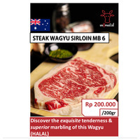 Daging Sapi Wagyu Sirloin/Striploin MB6 Beef Steak Import Termurah - 200gram