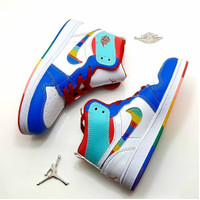 Sepatu Anak Nike Air Jordan 1 Kids High White Blue Rainbow