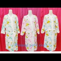 kimono handuk dewasa motif kembang & corak | baju handuk kimono import - pink, All Size