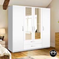 Blackmabel - Lemari Pakaian Baju 4 pintu Putih Kaca Minimalis Elegan